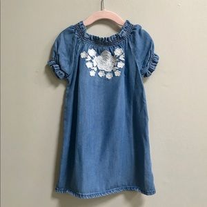 Janie And Jack Chambray Embroidered Shift Dress